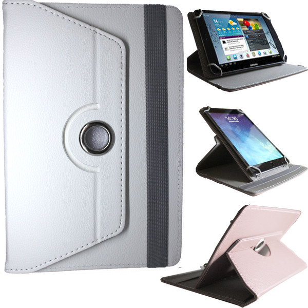 Universal PU White Leather Stand Folio 360° Case For Nook HD 7inch