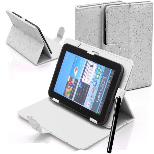 White Bling Universal Leather Stand Folding Folio Case for Nook HD 7 inch
