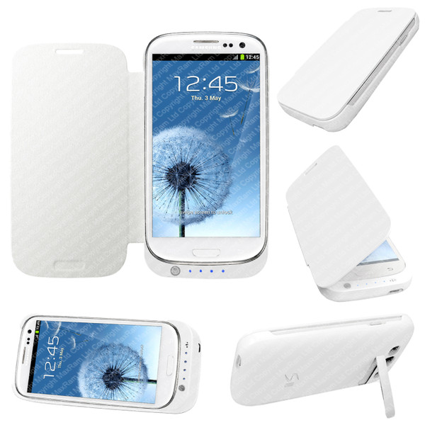 White Portable External Power Pack Backup Battery Charger Case For Samsung Galaxy S3