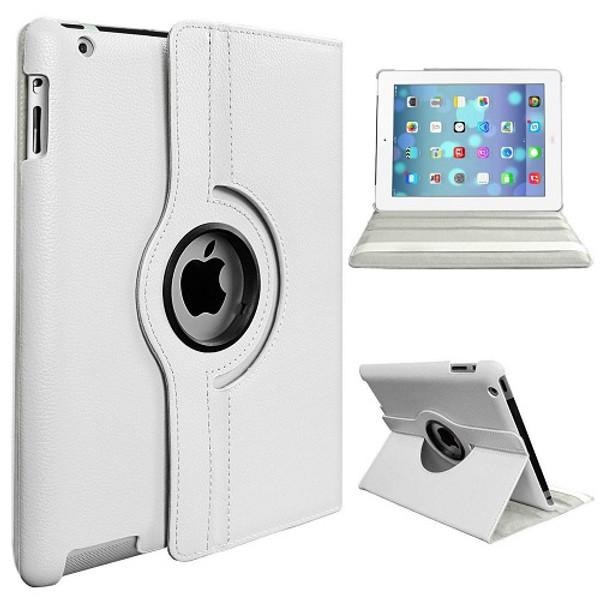 White PU Leather 360 Rotating Case for iPad Mini