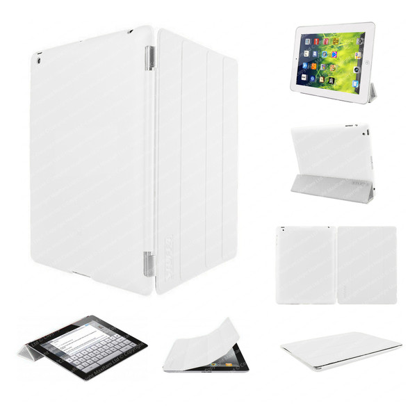 White Ultra Slim Smart Case for iPad 2/3/4 + Stylus + Screen Protector