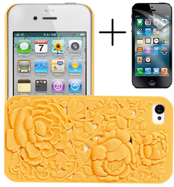 Yellow Rose Flower 3D Case for iPhone 5 + Screen Protector