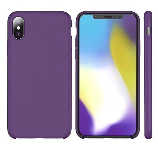 Apple I Phone  Rubber Matte Shockproof  Liquid Silicon Purple Case