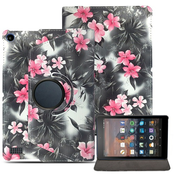 Apple ipad 2/3/4  Pink Flower on Grey  Magnetic Smart Leather Case