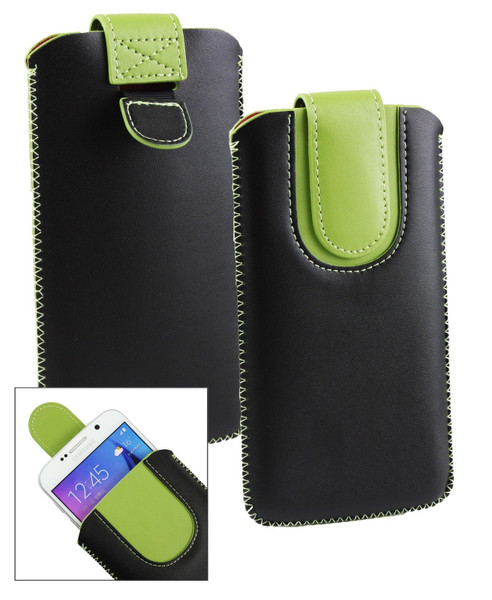 Stk Ace Plus Stylish PU Leather Pouch Black and Green Case
