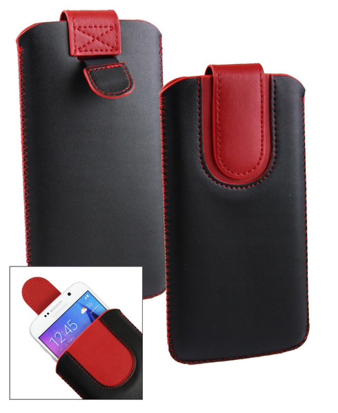 Stk Ace Plus Stylish PU Leather Pouch Black and Red Case
