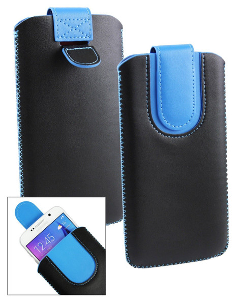 Stk Ace Plus Stylish PU Leather Pouch Black and Blue Case