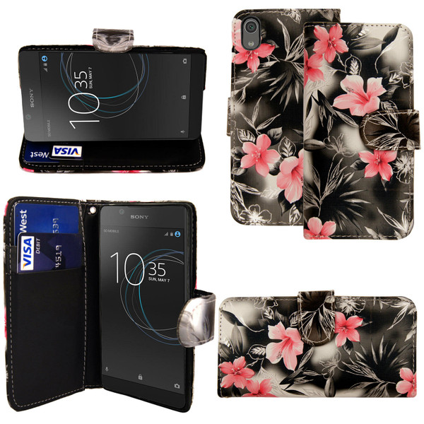 Pink and Grey Flower Sony Xperia L3 Wallet Leather Stand  Case