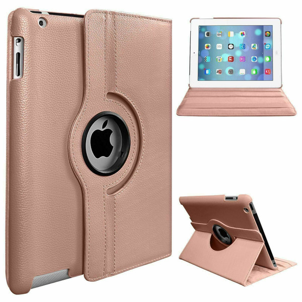 Rose Gold PU Leather 360 Rotating Case for iPad Air / iPad 5