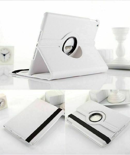 White PU Leather 360 Rotating Case for iPad Air / iPad 5