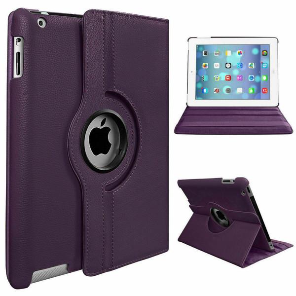 Purple PU Leather 360 Rotating Case for iPad Air / iPad 5