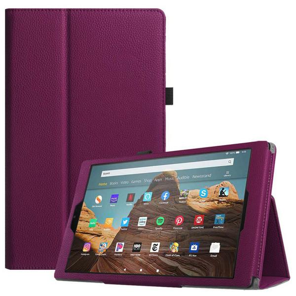 Amazon Fire 7 (2019)9th Gen Purple Leather Smart Stand Book Flip  Cover
