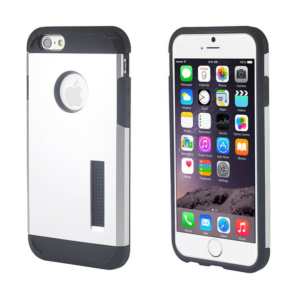 Apple iPhone 4 / 4S Silver Rugged Shockproof Armor Protective TPU Hard Case
