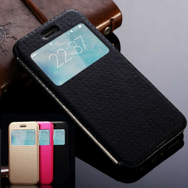 Apple Iphone 4/4s Black Luxury View Window Flip Stand Leather Case