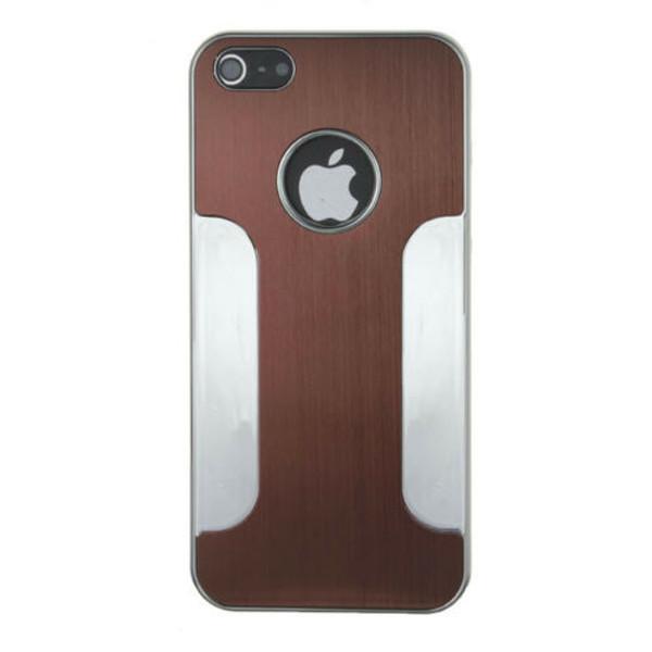Apple iPhone4/4s Brown Luxury Brushed Aluminium Chrome Hard Case
