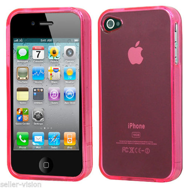 Apple Iphone 4/4s Light Pink Rubber Hard Gel Skin Transparent Case