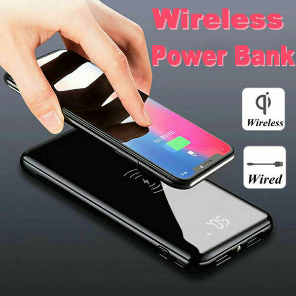 Power Bank 100000mAh Qi Wireless Charging USB LCD Portable Battery for Iphone X