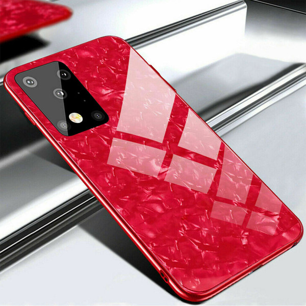 Samsung Galaxy S20 Plus Red Marbel Tempered Glass Back Cover