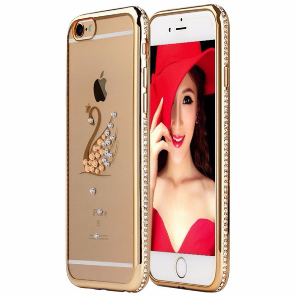 Apple iPhone 6s Plus Gold Peacock Electoplated Diamond Gel Blng Case