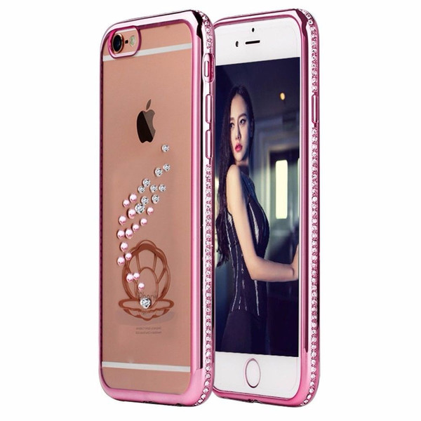 Apple iPhone 6s Plus Rose Gold Shell Electoplated Diamond Gel Blng Case