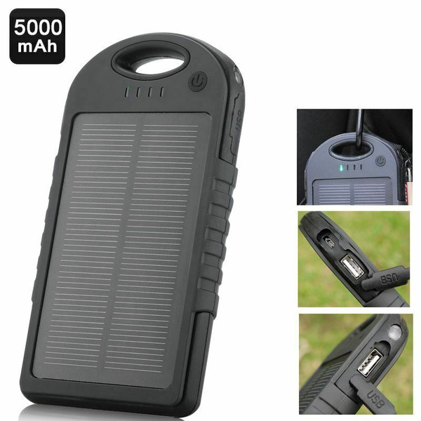 5000mah Portable Solar Power Bank Charger Waterproof 2USB +LED Torch For All Phones