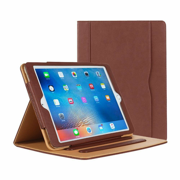 Apple iPad Pro 9.7 2016 Luxury Premium Leather Tablet Folio Brown Stand Cover