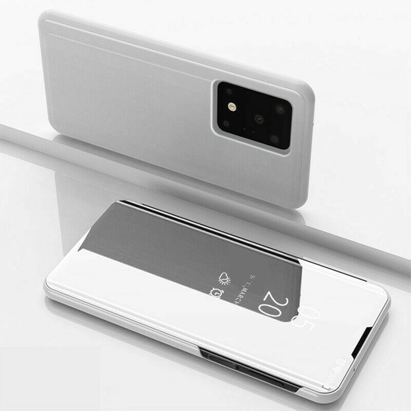 Samsung Galaxy  S10 Plus  Smart  Silver Mirror Leather Stand Case