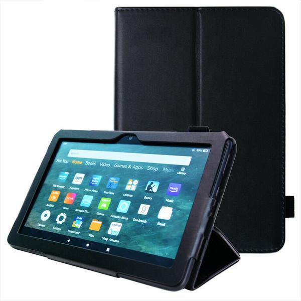 Amazon Kindle Fire HD 8 Plus Tablet 2020 Premium Slim Leather Flip Smart Stand Case Black Cover