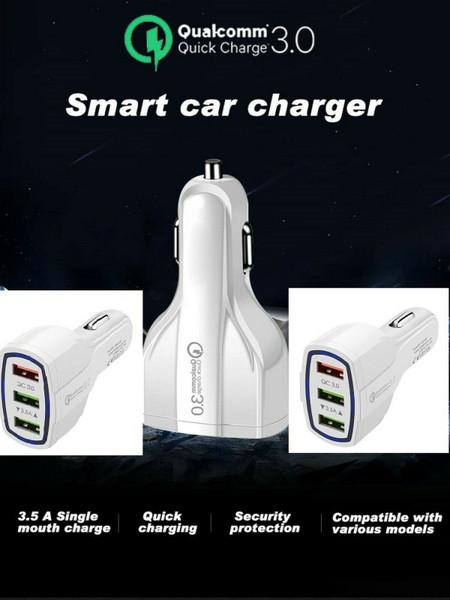 FAST Car Charger 3 USB  Charging QC 3.0 Cars Socket 12V-24V