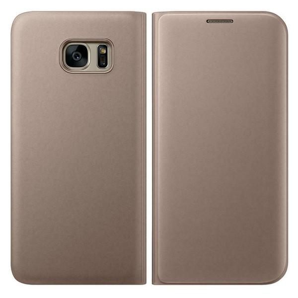 Samsung Galaxy A3  2017 Luxury Leather Card Holder Wallet Flip  Gold  Case