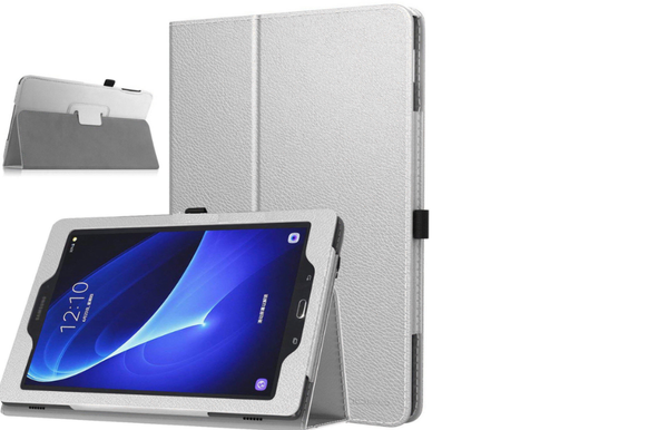 Samsung Galaxy Tab A 10.1 T580 T585 2016  Silver Smart Leather Tablet Flip Case Covers