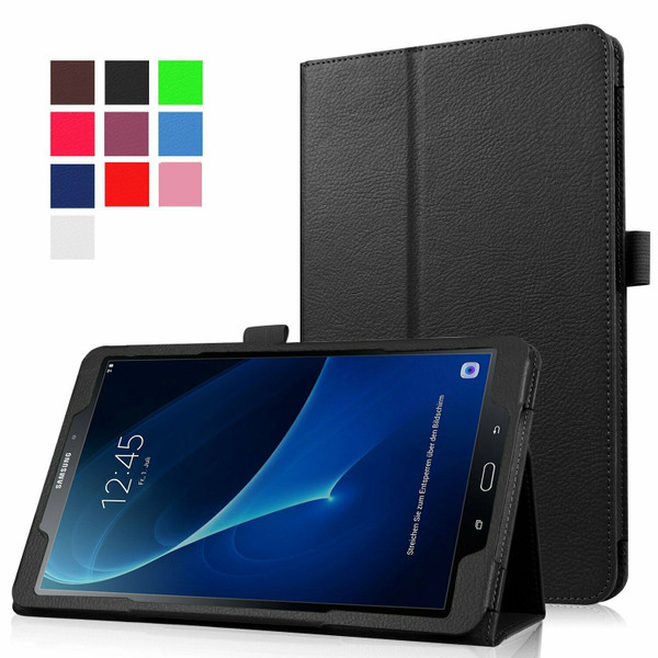 Samsung Galaxy Tab A 10.1 T580 T585 2016  Black Smart Leather Tablet Flip Case Covers