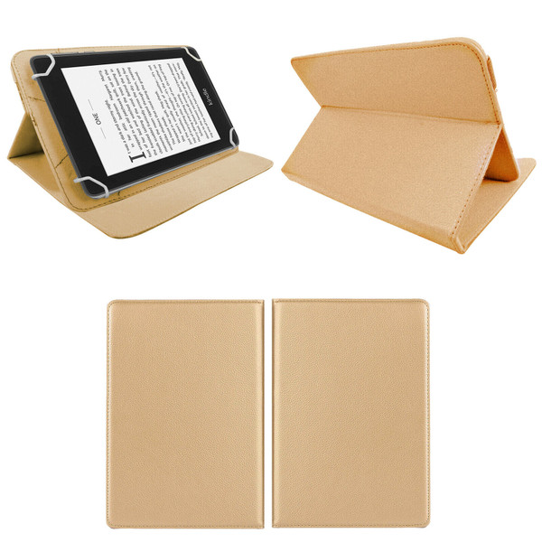 Amazon Kindle Fire HD 7 5th Gen 2015   Gold Smart Leather Stand Wallet Case