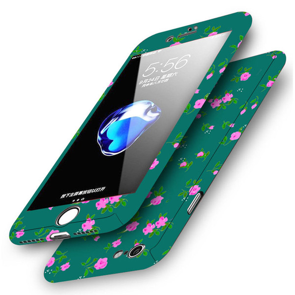 Apple iPhone 8 Plus Pink Flower On Green  Shockproof Hard Case With Tempered Glass