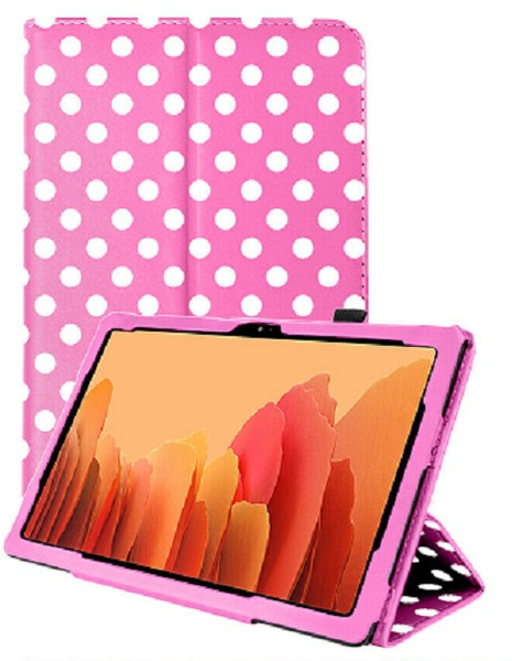 Samsung Galaxy Tab A7 10.4 2020 T50 T505  Pink Polka Smart 360 Folding Stand Cover