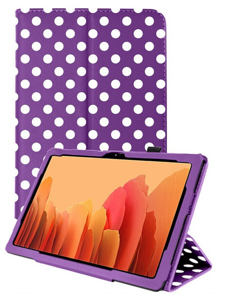 Samsung Galaxy Tab A7 10.4 2020 T50 T505  Purple Polka Smart 360 Folding Stand Cover