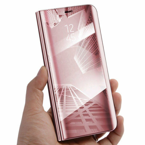Apple iPhone  12  Pro Rose Gold Clear View Mirror Stand Cover