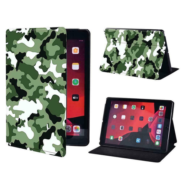 Green army camouflage Folio Leather Stand Cover Case Apple iPad 10.2 (8th Generation) 2020
