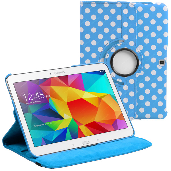 Baby Blue & White Polka Dot PU Leather 360 Rotating Case for Samsung Galaxy Tab 4 Nook 10.1 (T530)