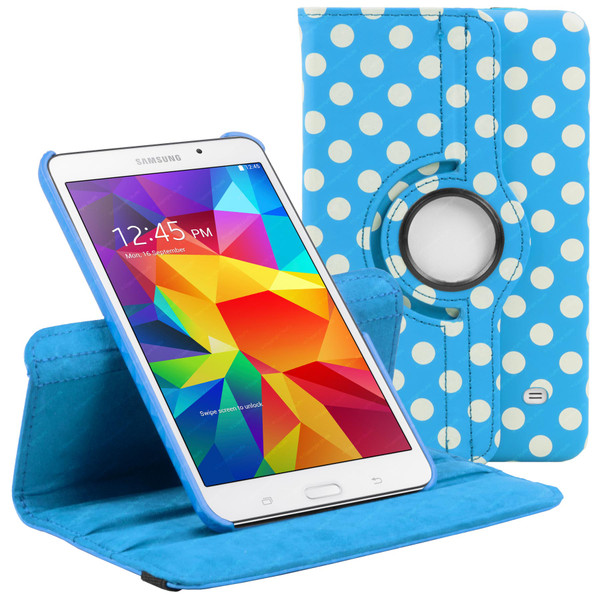 Baby Blue & White Polka Dot PU Leather 360 Rotating Case for Samsung Galaxy Tab 4 Nook 7.0 (T230)