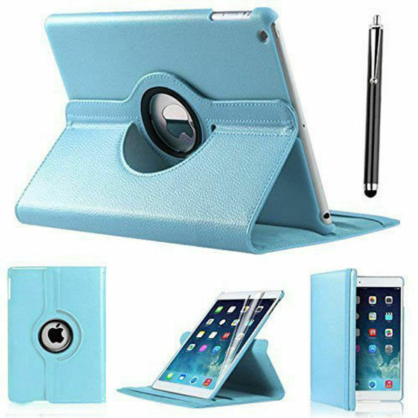 Apple iPad Air 2 Sky Blue PU Leather 360 Rotating Case with skin protector
