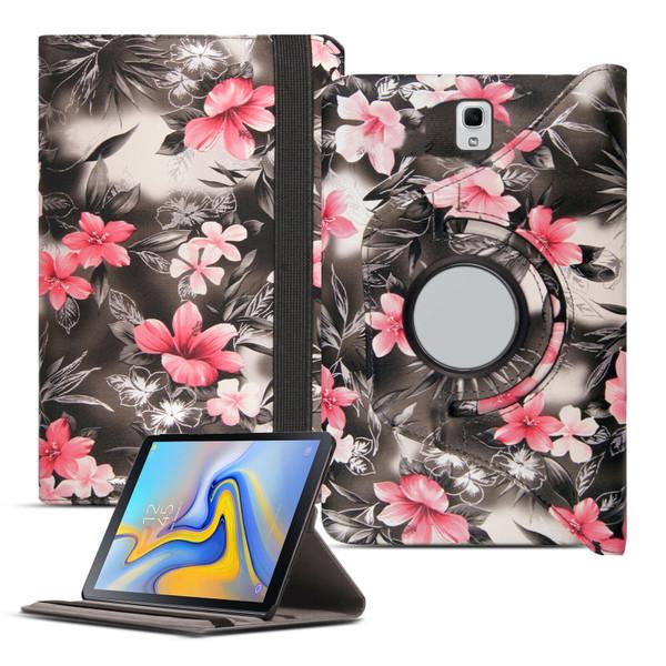 Pink flower on dark grey Leather Tablet Stand Flip  Case Samsung Galaxy Tab A 10.5 T590 T595 2018