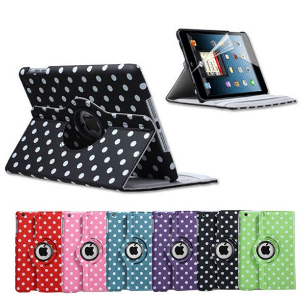 Black and White Polka Dots ipad Mini 360 Rotation Leather Case Stand Cover + Screen