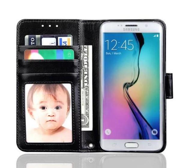 Black Luxury Wallet Case for Samsung S7 Edge Plus