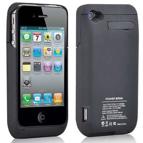Black Portable External Power Pack Backup Battery Charger Case For iPhone 4 / 4S
