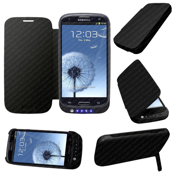 Black Portable External Power Pack Backup Battery Charger Case For Samsung Galaxy S3