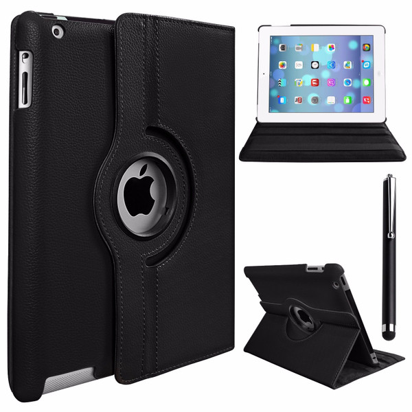 Black PU Leather 360 Rotating Case for iPad 2/3/4