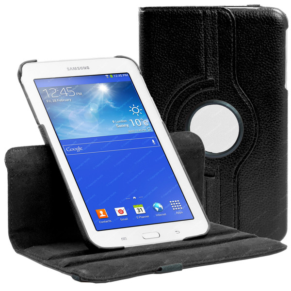 Black PU Leather 360 Rotating Case for Samsung Galaxy Tab 3 7.0 LITE (T110/T111)