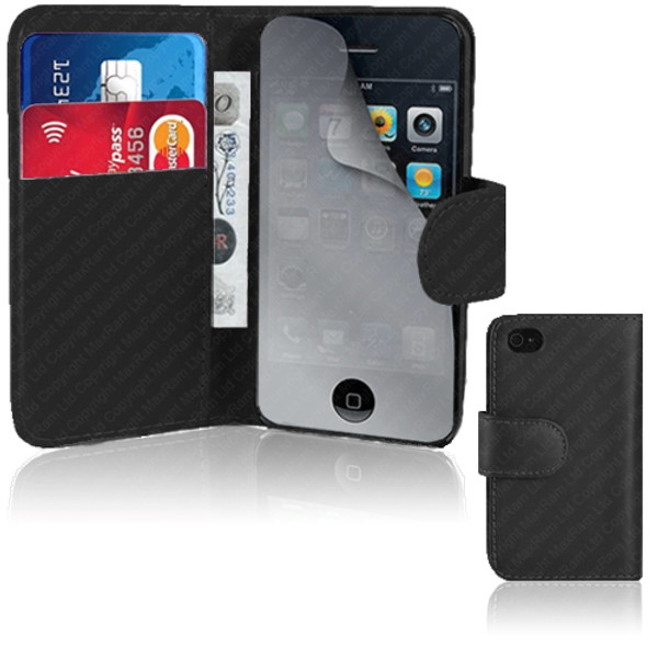 Black PU Leather Wallet with Card Holder for iPhone 5