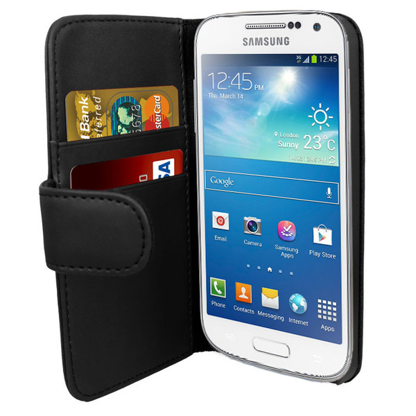 Black PU Leather Wallet with Card Holder for Samsung Galaxy S4